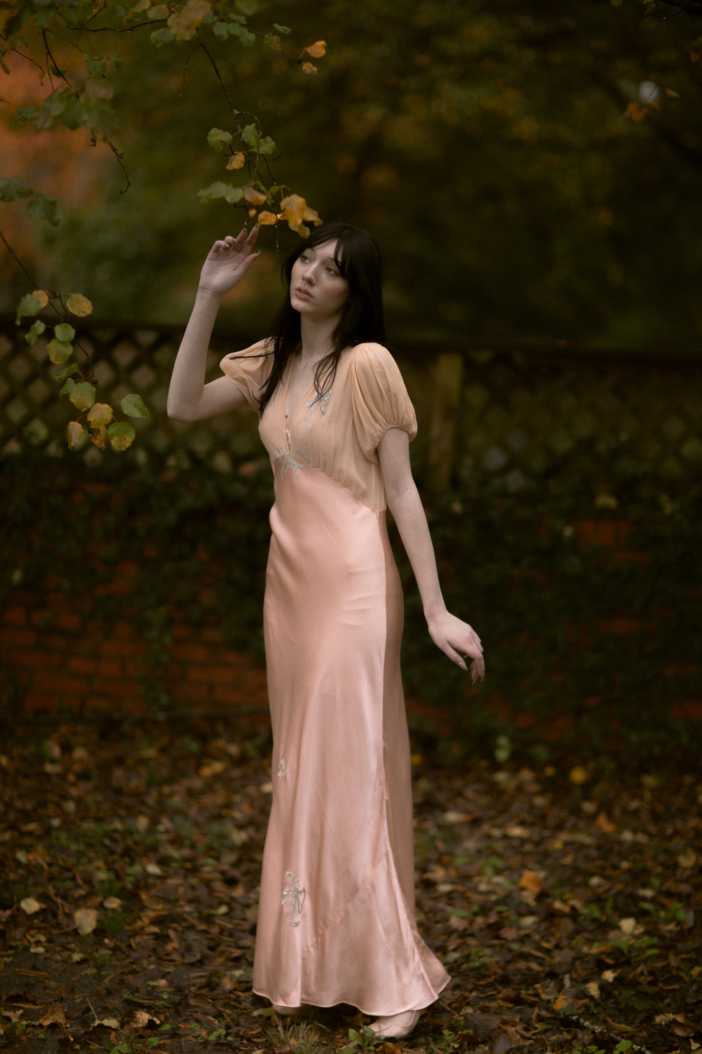 1930s silk bow gown