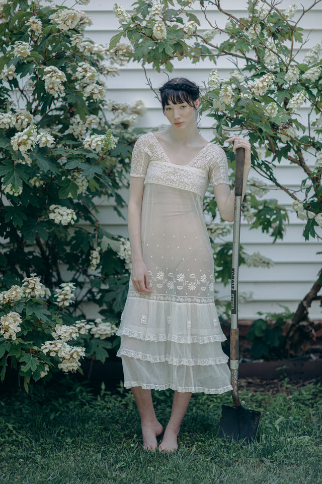 Antique 1920s embroidered french net dress