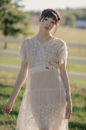 Antique 1900s tiered french lace dress