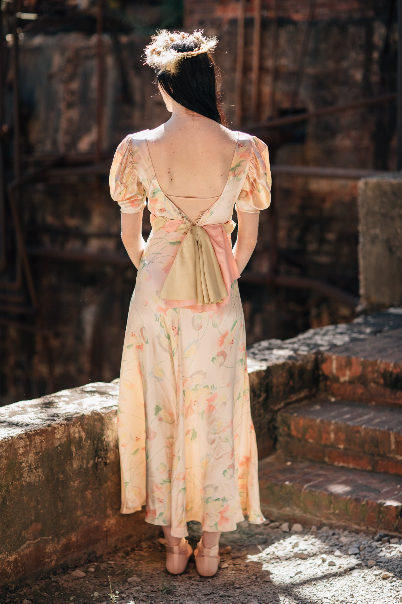 1930s floral satin gown