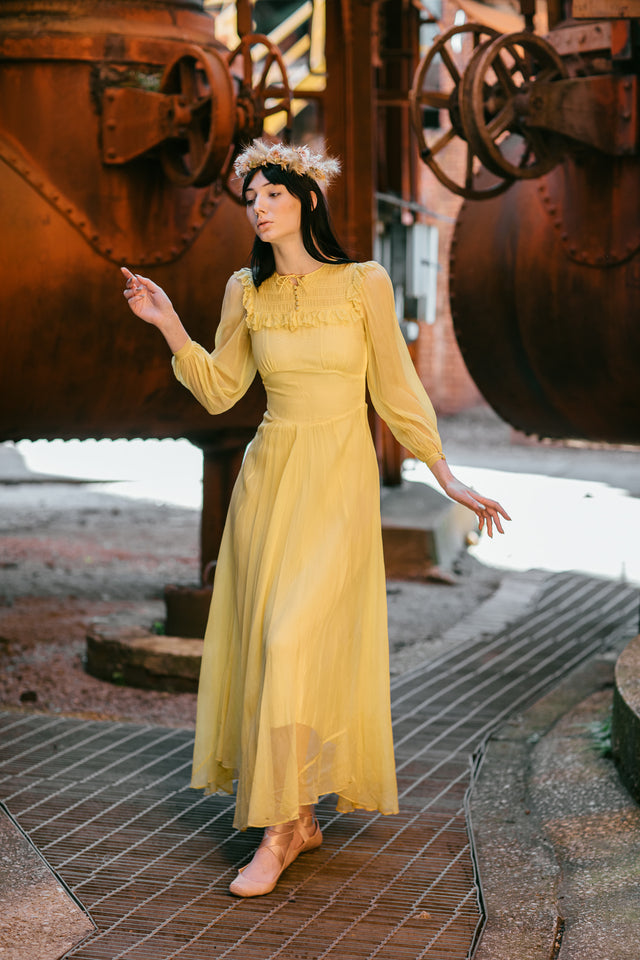 1940s silk chiffon dress