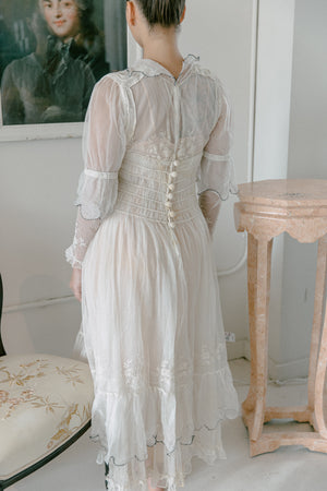 Edwardian embroidered net & organza gown