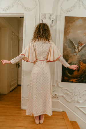 1970s English angel wing dress