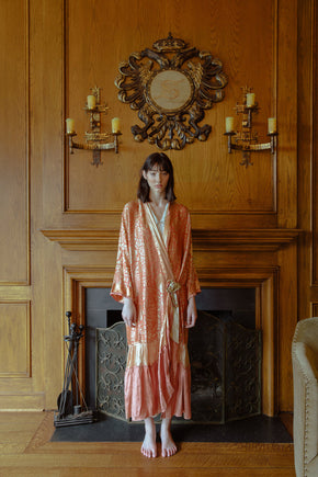 1920s painted silk robe