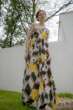 1970s Frank Usher one shoulder gown