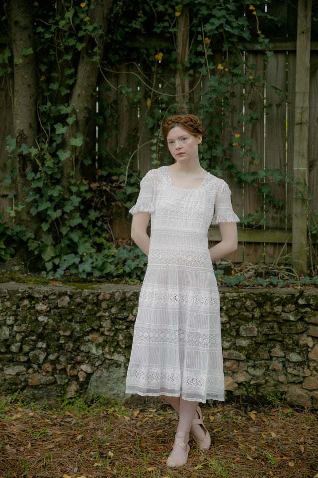 1930s whitework lace dress