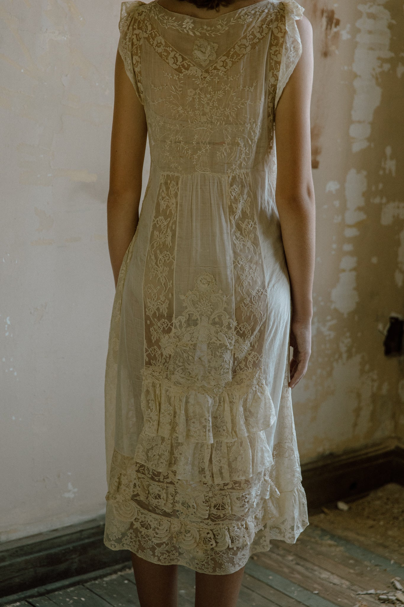 1920s French lace lawn dress