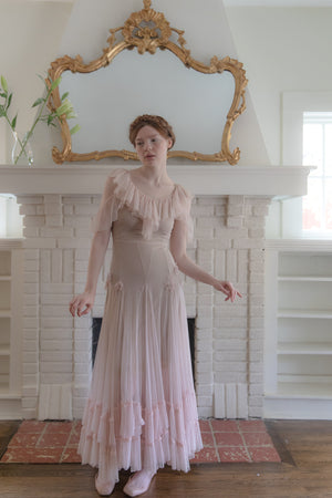 1930s blush net gown