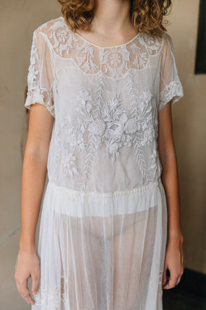 1930s french net embroidered dress