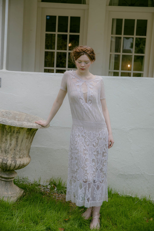 1930s net lace tea gown