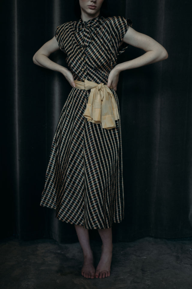 1940s plaid day dress