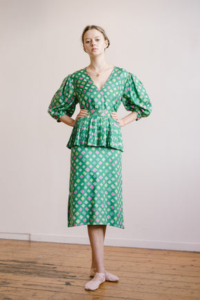 Vintage printed silk dress