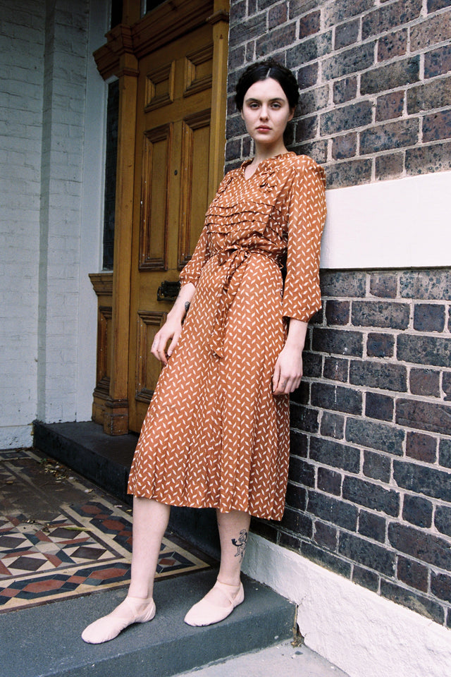 1940s printed silk crepe dress