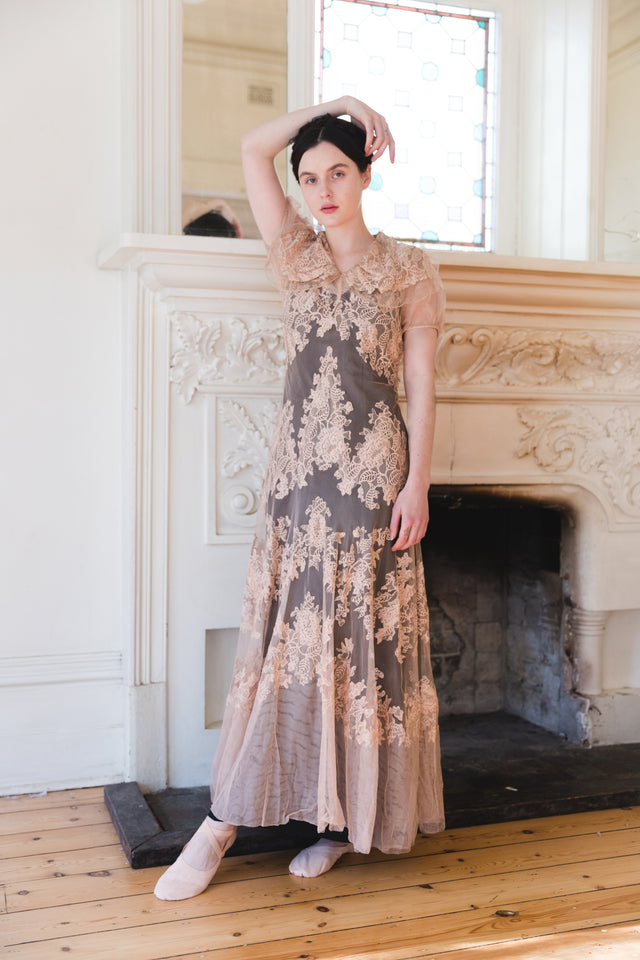 1930s net lace gown