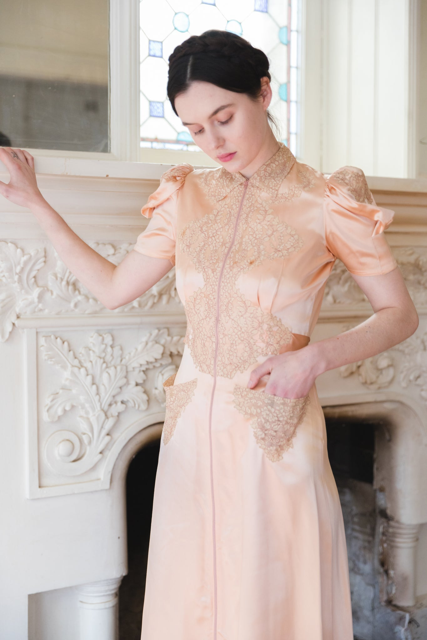 1930s silk and lace dressing gown