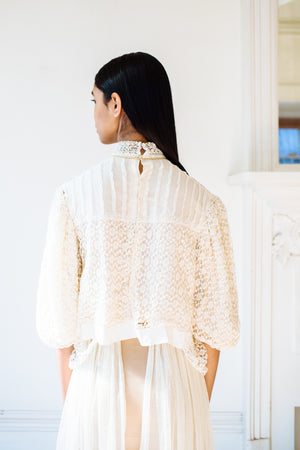 Antique net & crochet blouse