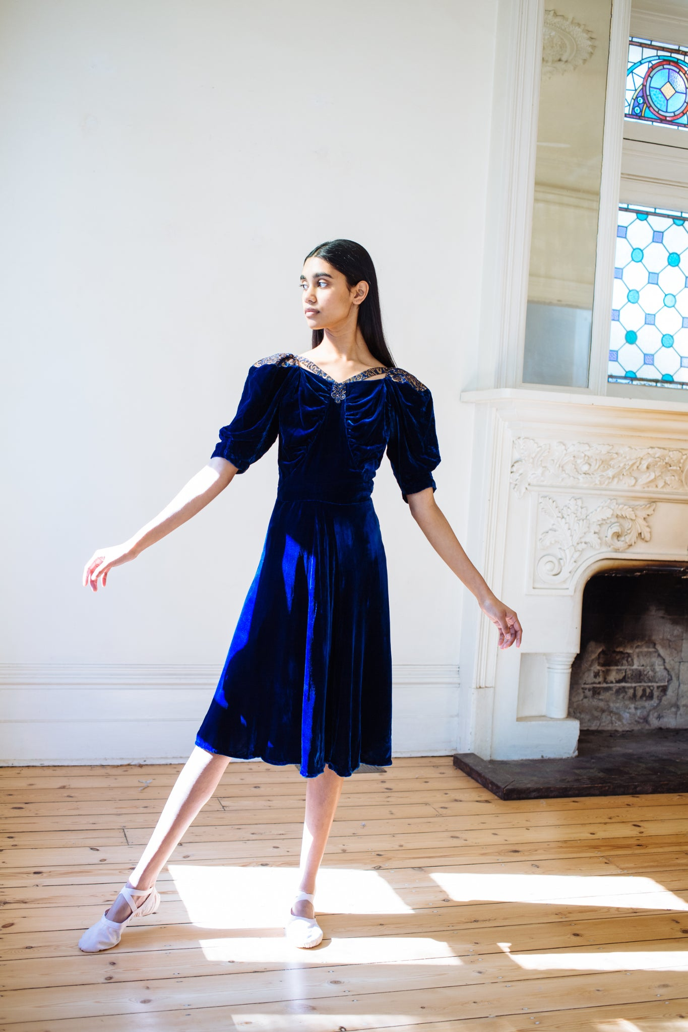 1930s Silk velvet & Lamè dress