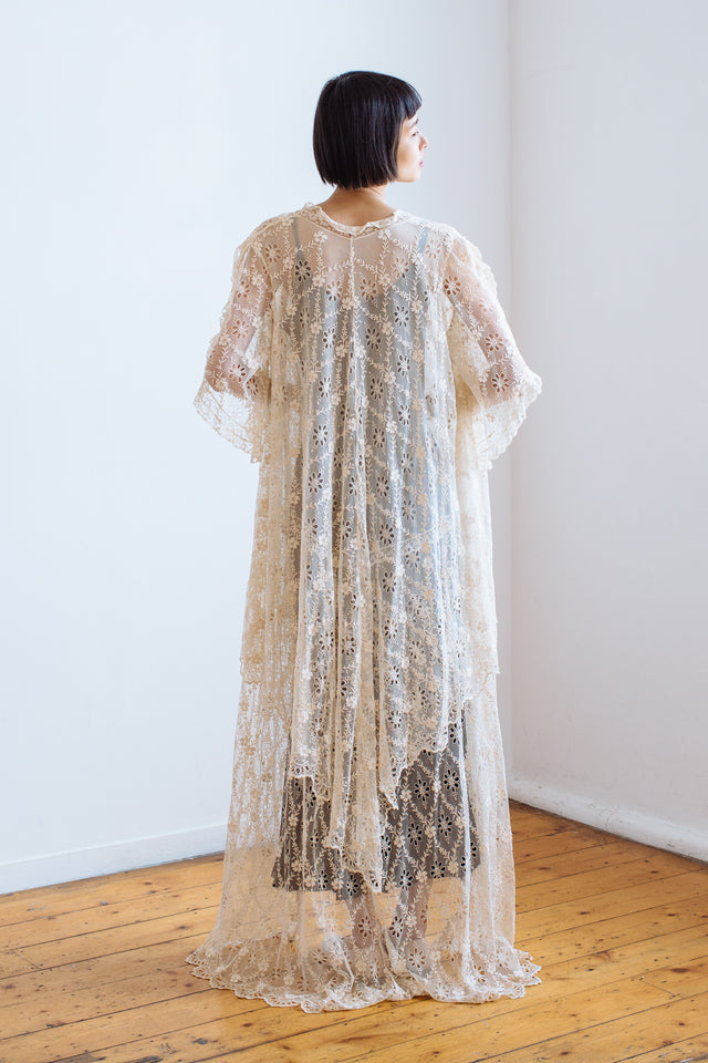 Antique broderie anglaise silk net coat