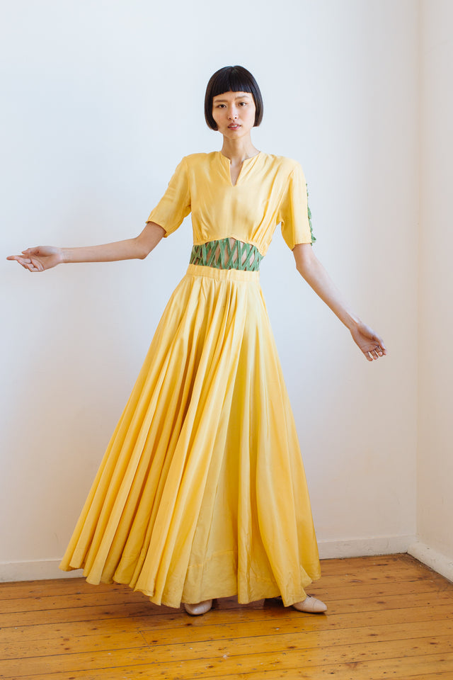 1940s silk faille cage gown
