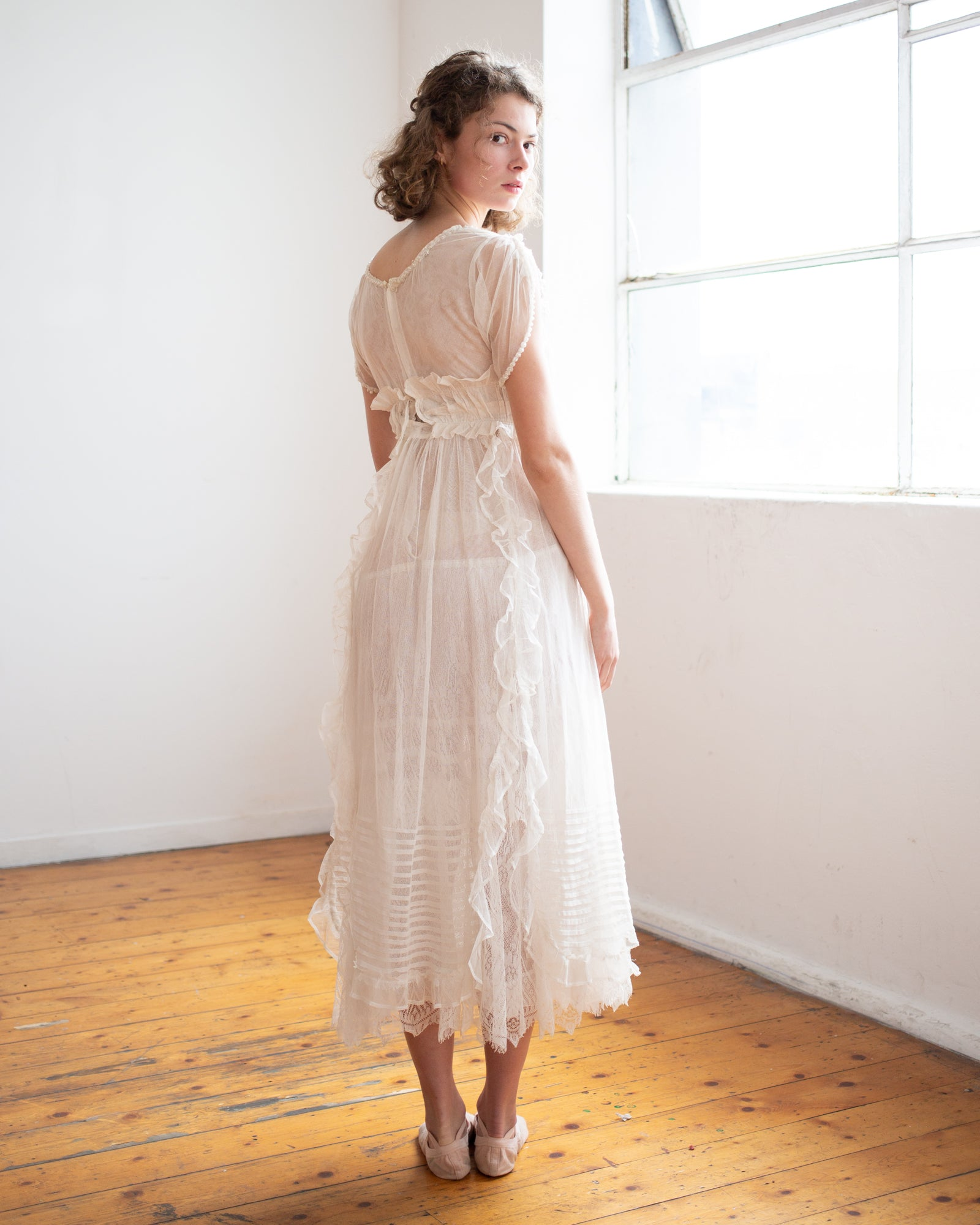 Edwardian net lace gown