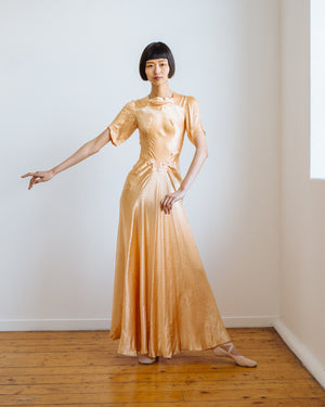 1930s damask silk gown