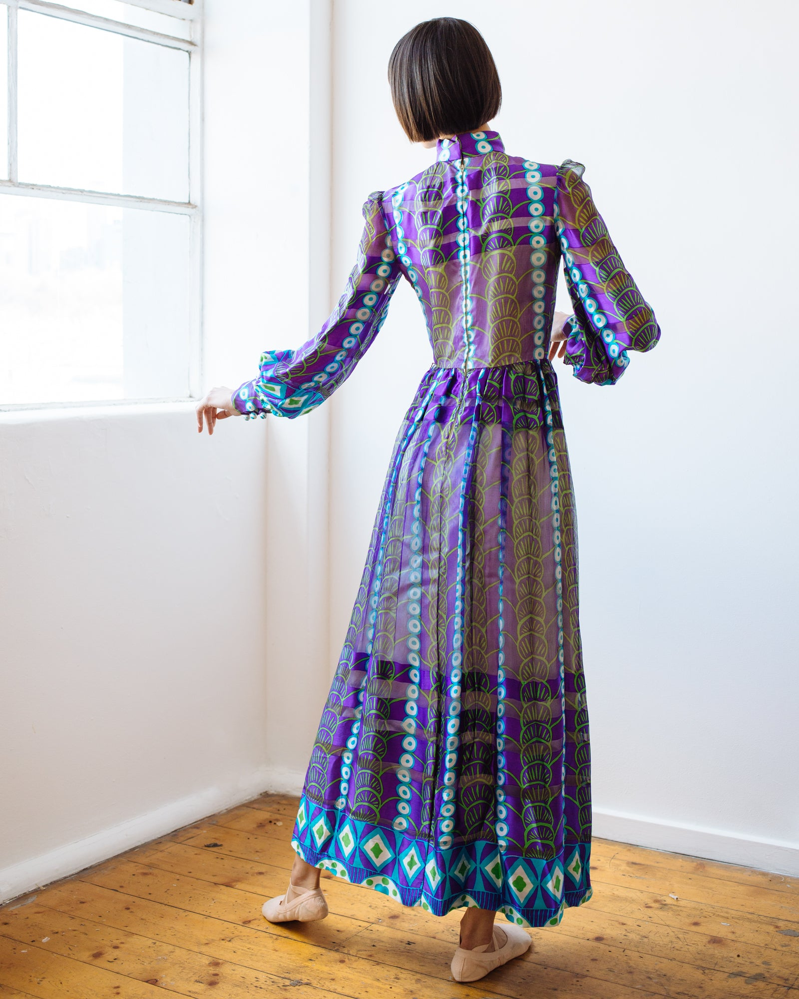 Salvador London 1960s printed silk chiffon gown