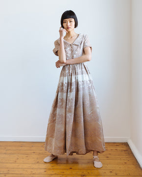 1940s silk brocade gown