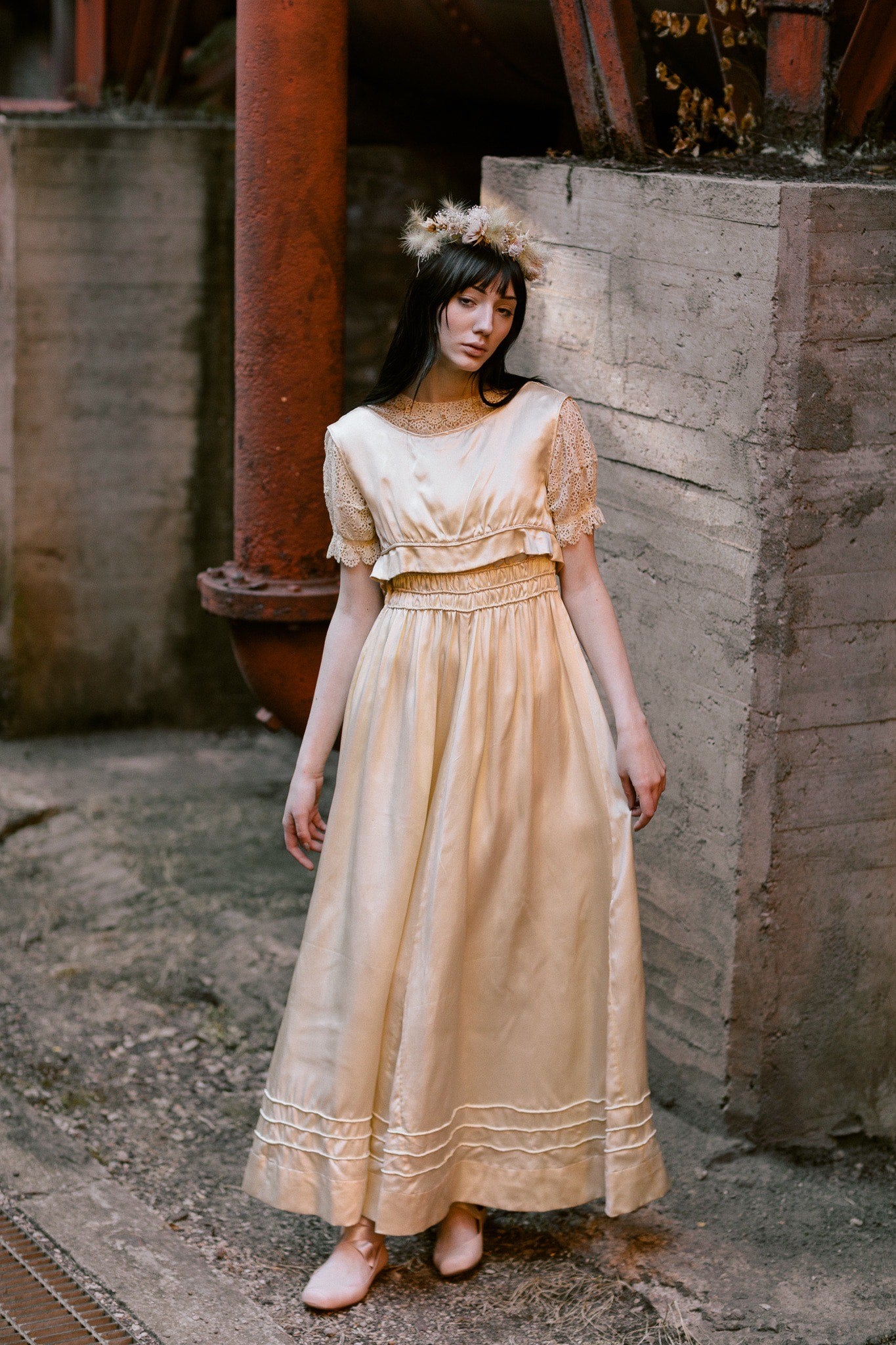 Edwardian silk lace wedding gown