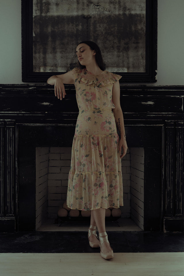 1930s floral silk chiffon dress