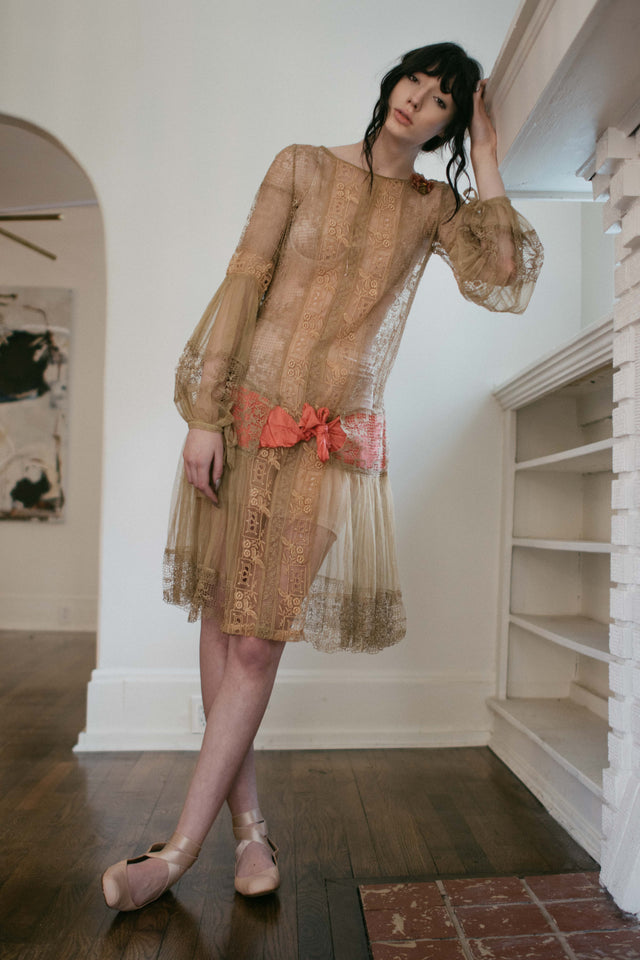 1920s filet net lace flapper dress