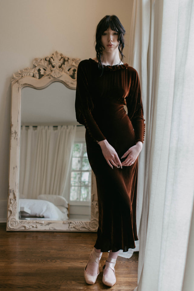 1930s copper silk velvet gown