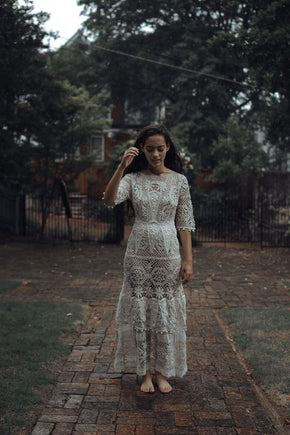 Antique crochet mix lace dress