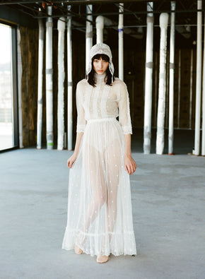 Vintage net & lace maxi dress