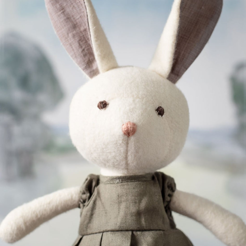 Hazel Village Penelope Rabbit in a Beech Grey Linen Dress