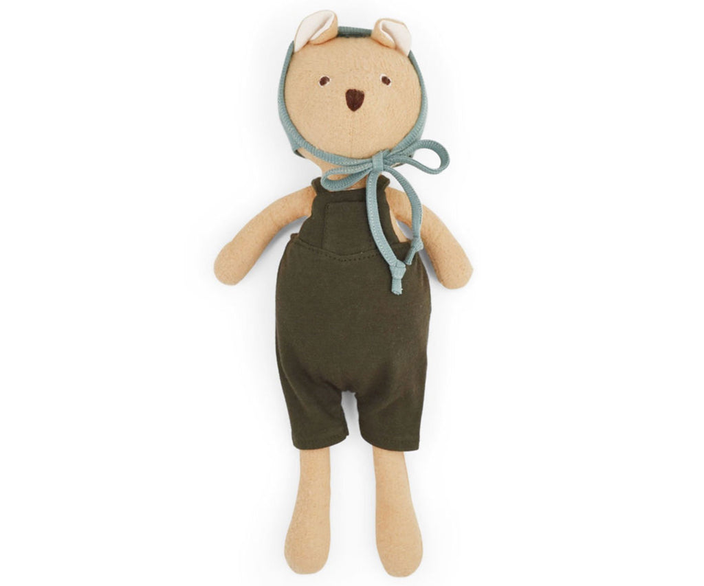 Hazel Village Nicholas Bear in Picnic Overalls and Bonnet