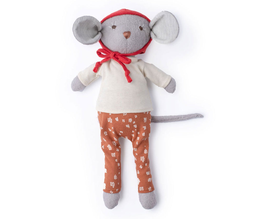 Hazel Village Oliver Mouse in Red Bonnet, Natural Shirt & Fawn Spots Pants