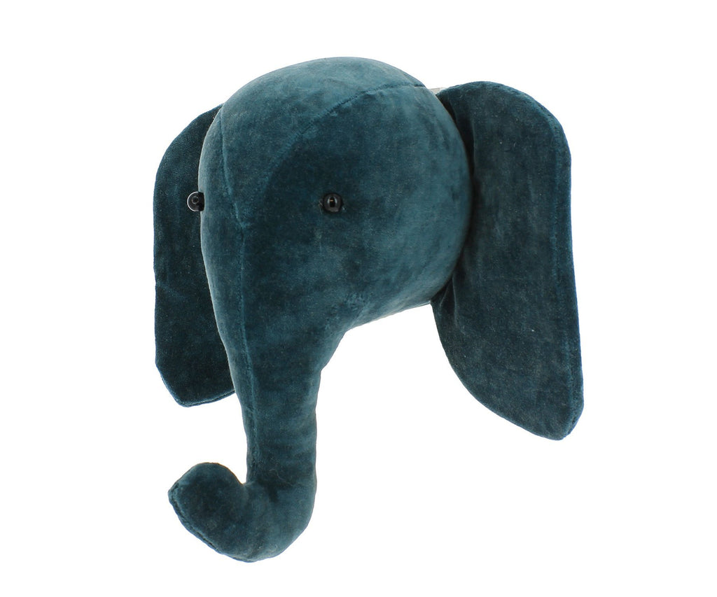 Fiona Walker Mini Velvet Elephant Head - Teal - Bijou Lifestyle