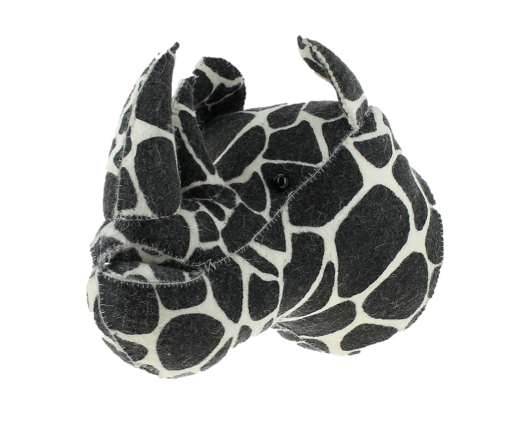 Fiona Walker England Black & White Rhino Head with Giraffe Print Semi