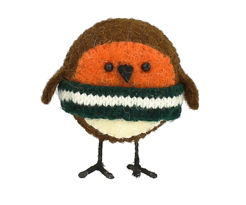 Fiona Walker Robin Standing Small with Christmas Jumper