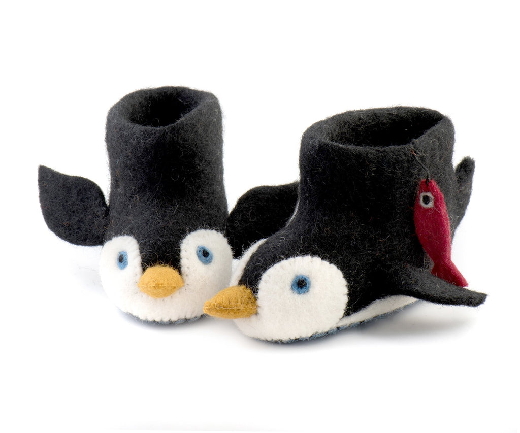 Sew Heart Felt Penguin Slippers Child's Size UK 10