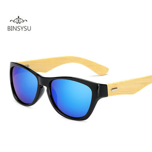 Retro Men Bamboo Sports Design Sunglasses