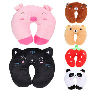 Multi-Colour Cartoon Animal Neck Headrest Travel Pillow