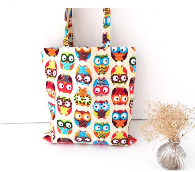 Owl Floral Printed Canvas Tote Bag for Women