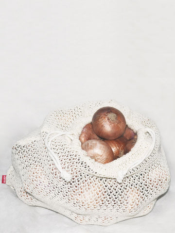 <SMALL><B><strong>ORGANIC COTTON BAG </B></strong></SMALL>100% Organic Cotton Vegetable / Fruit Storage Fridge Bags (Eco-Friendly, Non-Toxic, Washable, Reusable) <small> (solid-ecru)</small>