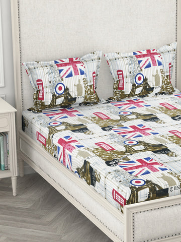 <SMALL><B><strong>GEO TOKYO </B></strong></SMALL>130Gsm Super-Peached King-Size Double Bedsheet With 2 Pillow Cover - Deep Colors & Soft-Finish Fabric <small> (abstract-ivory/multi)</small>