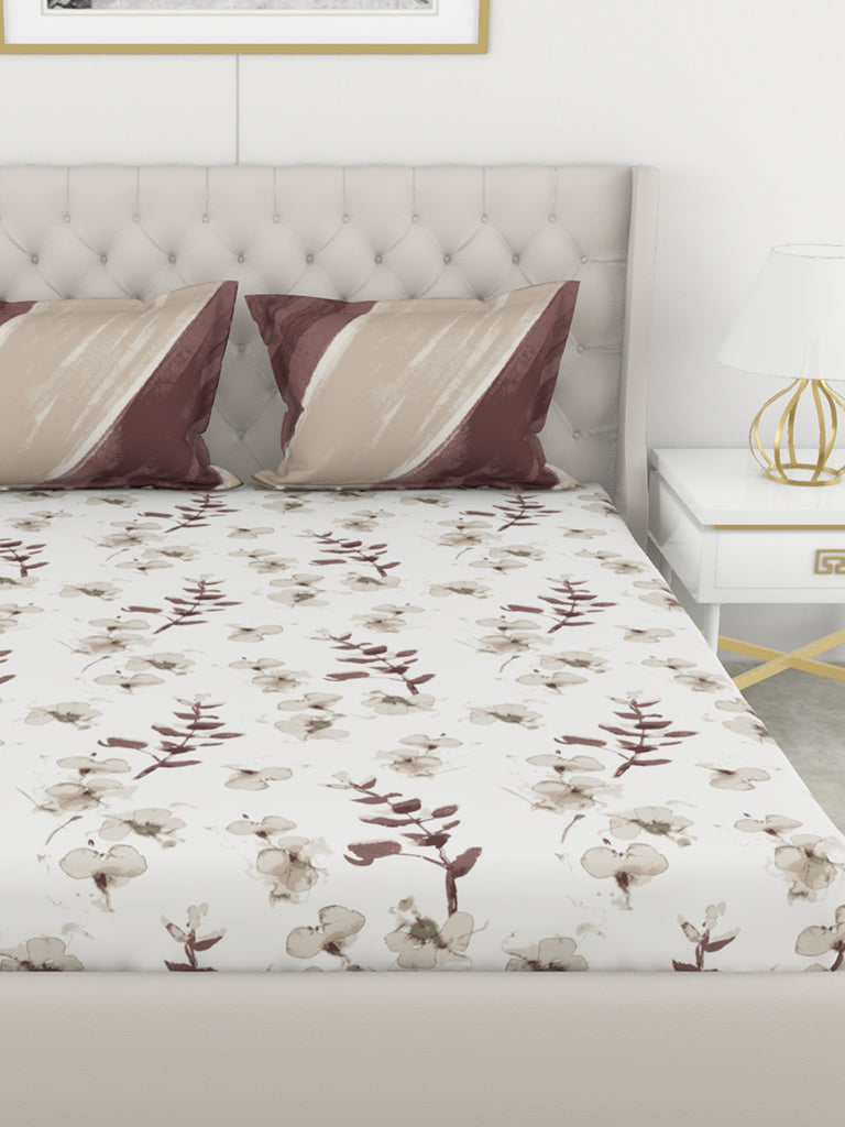<SMALL><B><strong>CHANTAL </B></strong></SMALL>210Tc Satin 100% Cotton King-Size Double Bedsheet With 2 Pillow Cover - Double-Mercerized Finish <small> (abstract-beige/choco)</small>