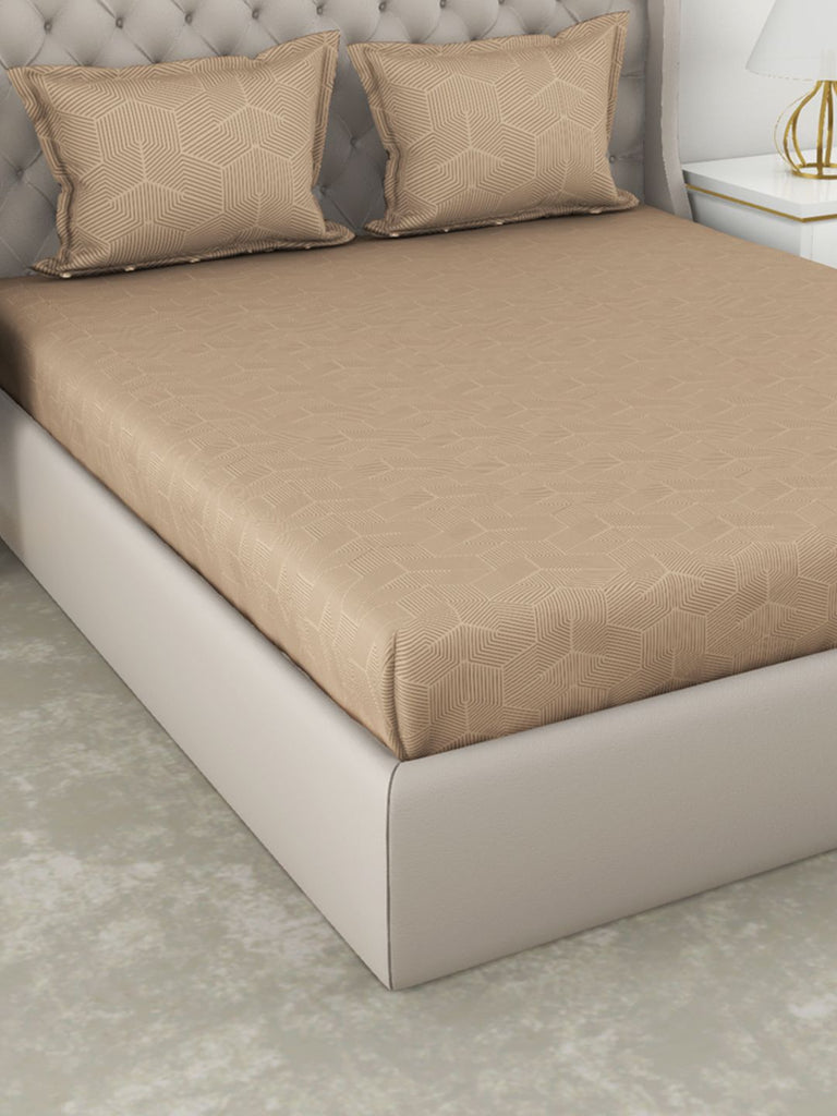<SMALL><B><strong>BOTANICAL COTTON </B></strong></SMALL>210Tc Satin 100% Cotton Xl-King-Size Double Bedsheet With 2 Pillow Cover - Double-Mercerized Finish <small> (abstract-beige)</small>