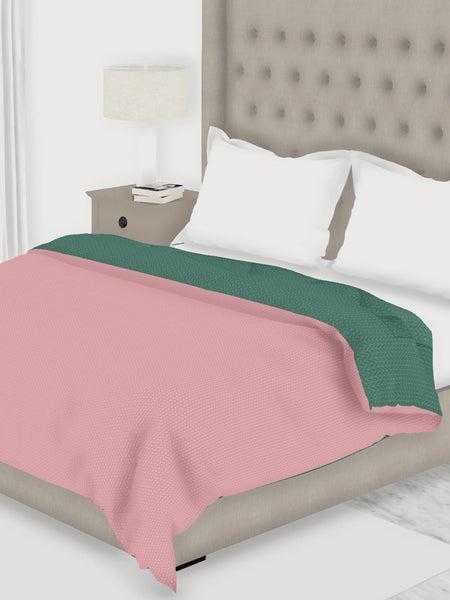 <SMALL><B><strong>COTTSLOVE </B></strong></SMALL>All-Weather Ac Double Comforter [150Gsm Micro-Silk Filling & Soft-Touch Fabric] <small> (solid-coral/teal)</small>
