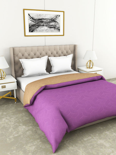 <SMALL><B><strong>BOTANICAL COTTON </B></strong></SMALL>100% Cotton All-Weather Ac Double Comforter [130Gsm Micro-Silk Filling & 210Tc Cotton Fabric] With Health Layer <small> (abstract-purple/beige)</small>