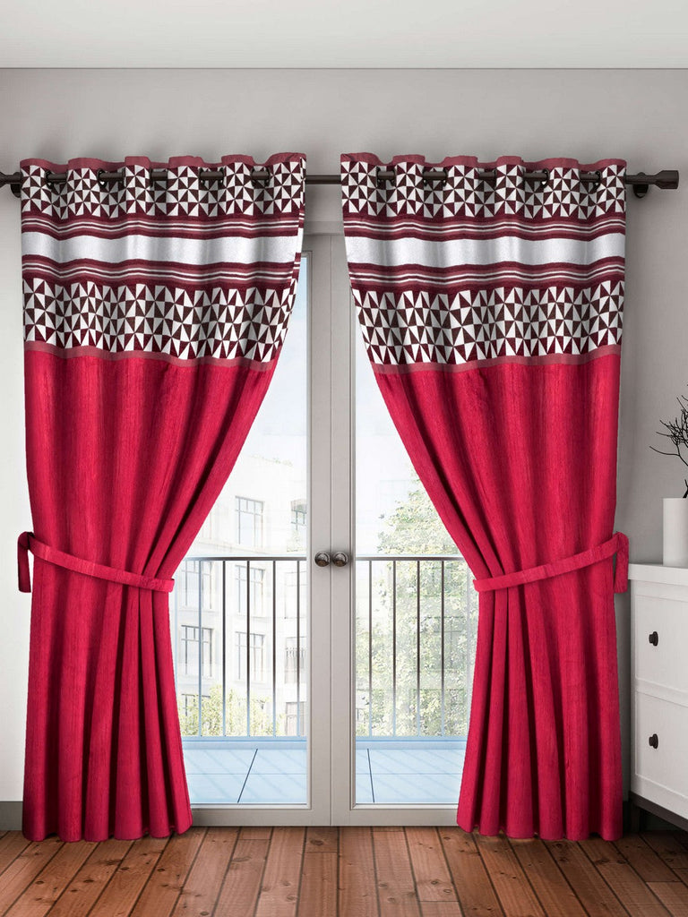 <SMALL><B><strong>PURE LIVING RETREAT </B></strong></SMALL>Breezy Textured Fabric Curtain & Top Design [Eyelet Pattern] <small> (mix-match-maroon)</small>